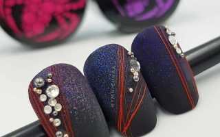 Паутинка на ногтях – на короткие и длинные, красная, черная, белая, геометрия, со стразами