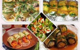 Рулетики из кабачков с начинками из сыра с чесноком, куриной грудки, помидоров и творога