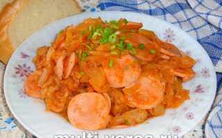 Тушеная капуста с сосисками на сковороде, в мультиварке, духовке – рецепты с картошкой и фасолью