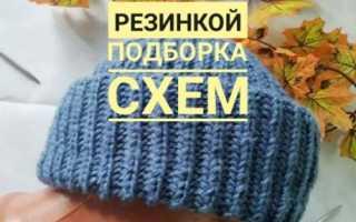 Женская шапка бини – с отворотом, помпоном, двойная, двусторонняя, вязанная английской резинкой, из меха