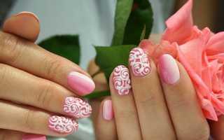 Модный маникюр с узорами – розовый, красный, бежевый, французский, со стразами, объемный, завитушки, вензеля, для коротких и длинных ногтей