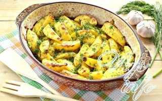 Молодая картошка запеченная в духовке с укропом и чесноком, по-деревенски, в сметане, с рыбой, грибами, кабачками и другие варианты