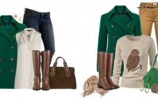 Женское зеленое пальто – длинное, короткое, вязаное, шарф, шапка, аксессуары к пальто зеленого цвета