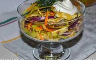 Салат с блинами – рецепты с копченой курицей, ветчиной, огурцами и говядиной