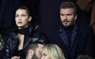 А где Виктория? Белла Хадид и Дэвид Бекхэм на футбольном матче в Париже