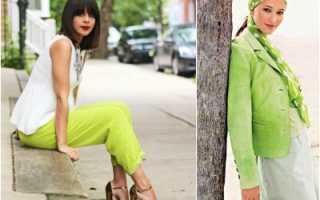 Салатовый цвет – в одежде, платья, юбки, пальто, брюки, сумки, обувь, босоножки, кроссовки