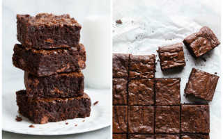 Рецепт брауни с шоколадом или какао, с вишней, творогом и бананом