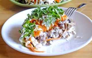 Салат с жареными шампиньонами и курицей – рецепты с морковью, сыром, ананасами