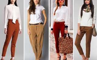 Женские коричневые брюки – классические, кожаные, широкие, зауженные, лаковые, в клетку, вельветовые, клеш, с высокой талией, с чем носить?