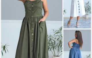 Модный сарафан на бретельках – джинсовый, шелковый, хлопковый, на широких, тонких бретелях, с футболкой, воланом, пуговицами, запахом, для полных