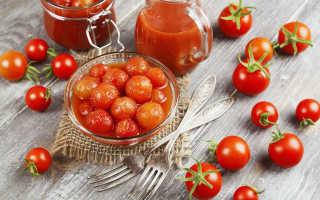 Маринованные помидоры черри на зиму сладкие с медом, быстрого приготовления, с чесноком и огурцами