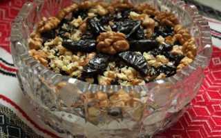 Салат с черносливом, куриной грудкой, орехами, свеклой – рецепты салата «Нежность», «Березка», «Шапка мономаха»